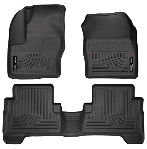 Husky Liners 99741 Black Weatherbeater Front & 2nd Seat Floor Mats Fits C-Max, 2013-19 Ford Escape