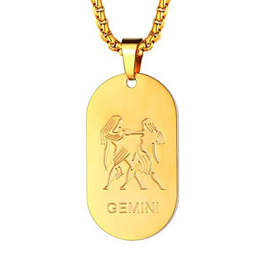 FaithHeart Dog Tag Halskette Zwillinge Sternzeichen Sternbild Anhänger Damen vergoldet Herren Schmuck Kette