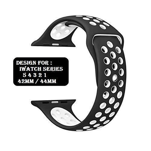 Soft Silicone Sport Strap Band Compatible with Apple Watch Series SE/6/5/4/3/2/1/ Soft Silicone Waterproof Strap for Apple iWatch 42 MM / 44 MM...