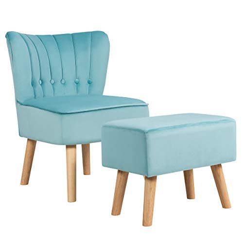 Giantex Modern Accent Chair Ottoman Set, Armless Slipper Sofa Chair with Footstool, Velvet Upholstered, Button Tufted, Single Chair and Ottoman for Living Room/Bedroom/Home Office (Turquoise)