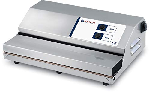 HENDI Machine à emballer sous vide, bande de soudure: 350mm, Kitchen Line, pompe à vide: 20L/min, Inox, 370x260x(H)130mm