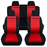Totally Covers Compatible with 2011-2014 Ford Mustang 2-Tone Seat Covers with Your Name/Text: Black & Red - Full Set (22 Colors) Coupe/Convertible V6/GT Solid/Split Bench 50/50 5th Gen