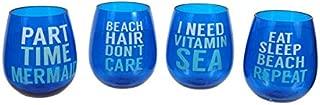Nautical Beach Sayings Stemless Wine Glasses 20 oz. Set of 4