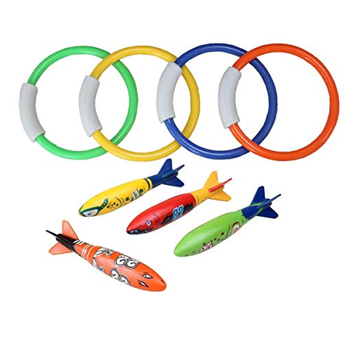 KidsB Crafty 8pcs Diving Toys including 4pcs Dive Rings 4pcs Toypedo Bandits Underwater Swimming Pool Toys Diving Game Training Gift for Kids Boys Girls Weighted