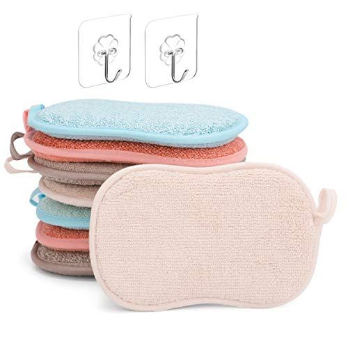 ZITFRI 8 Pcs Eponge Lavable Vaisselle Reutilisable Eponge a Recurer en Microfibre pour Nettoyer Poêlons Poêles Pots avec 2 Crochets Adhésifs