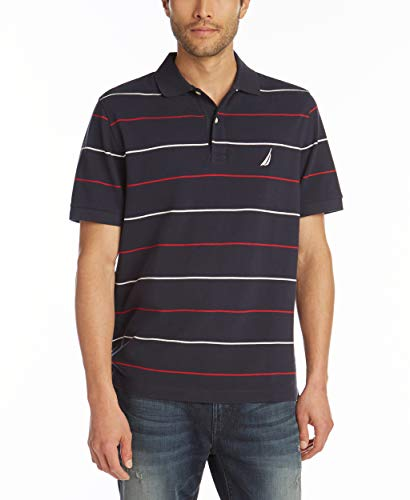 Nautica Men's Classic Fit Short Sleeve 100% Cotton Pique Stripe Polo Shirt, Navy, Large