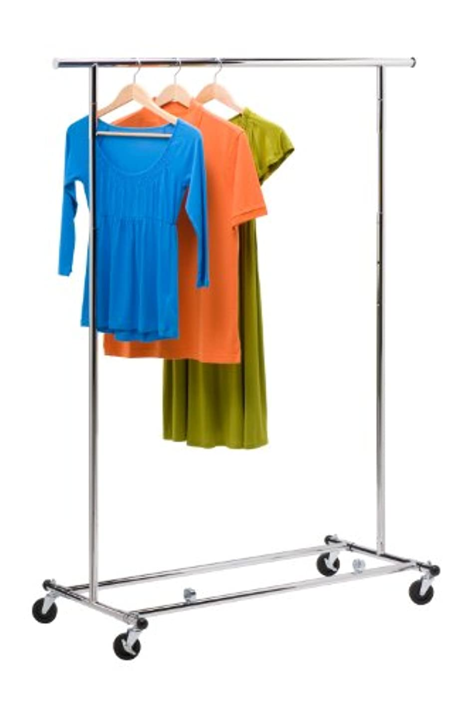 Honey-Can-Do GAR-01304 Collapsible Commercial Garment Rack with Wheels, Chrome