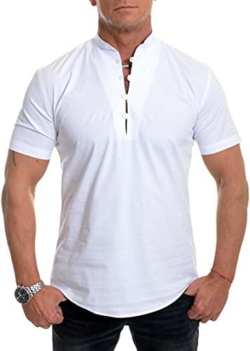 SSBZYES Camisas para Hombre Camisas De Verano con Cuello Alto Camisetas con Cuello En V Tops De Color Sólido...