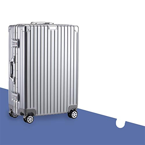 Not a brand Aluminum frame trolley case luggage female male travel box universal wheel password box 20 inch 24 inch 26 inch (Color : Silver matte, Size : 20 inch)