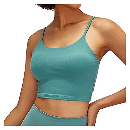 Hcxbb-1 Mujeres Acolchados Sujetador Deportivo, Fitness Casual sin Mangas para Damas Chaleco de Entrenamiento Corriendo Camisa de Yoga Estirar Chaleco Superior (Color : A-Blue, Size : L)