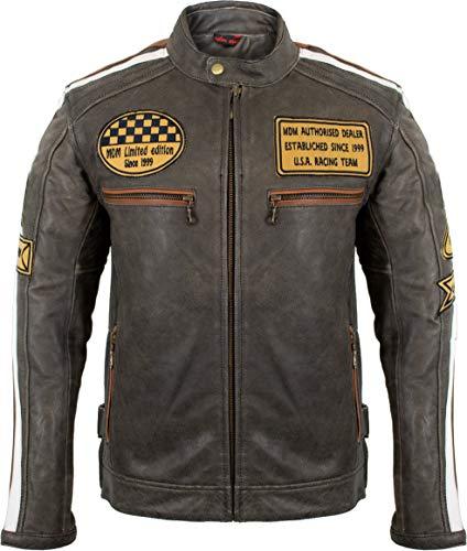 Herren Retro Motorrad Lederjacke (L) - 5