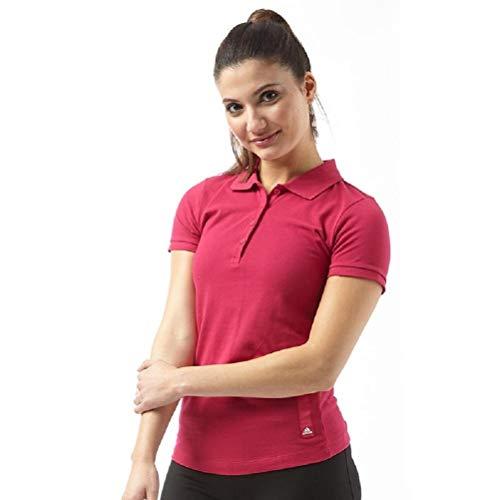 adidas Polo deportivo para mujer, color rosa fucsia (talla L, 42-44, busto 96,5-101,6 cm)