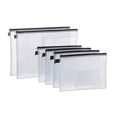 Relaxdays, klar/schwarz Dokumententasche 6 Stück, DIN A4 & A5, Reißverschluss, Schlaufe, Dokumentenmappe Reise, PVC, Standard