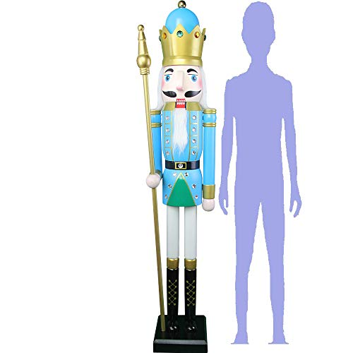 CDL 48' 4ft Tall Life-Size Large/Giant Green Christmas Wooden Nutcracker King on Stand Holds Golden Scepter for Indoor Outdoor Xmas/Event/Ceremonies/Commercial Decoration(4 feet,King Green k27)