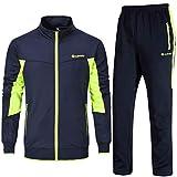 Chándal Ysento para hombre, pantalones de deporte y chaqueta de entrenamiento, ropa deportiva para el gimnasio azul marino y verde. L