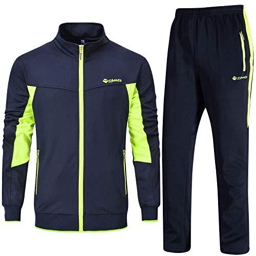 YSENTO Männer Trainingsanzug Freizeitanzug Fitness Fußball Jogginghose mit Hose und Jacke für Herren mit Reißverschlusstaschen(Marine+Grün,L)