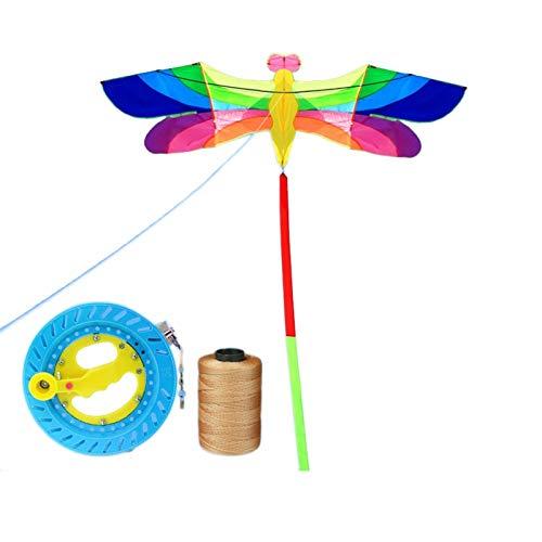 Fácil de montar Fácil de volar Cometa de playa res Kite de diamante para niños y adultos, enorme arco iris libélula Kite para niños con cometas fáciles de volar para juegos y actividades al aire libre