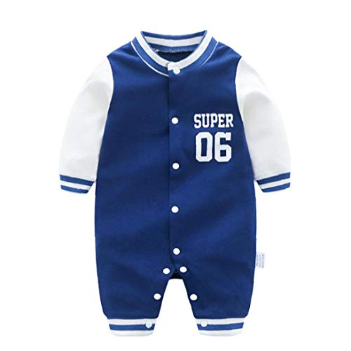 MaylFre Baby Jumpsuits Baseball Uniform Baumwollnette Body Jumpsuits Langarm Onesies Für Fußlose Schlaf-and-Play 73cm Navy