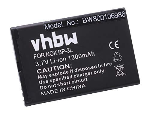 vhbw Li-Ion batería 1300mAh (3.7V) para teléfono, Smartphone, teléfono móvil Nokia 603,...