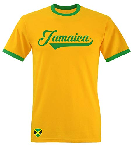 Aprom-Sports Jamaika Ringer Retro TS WM 2018 T-Shirt Trikot Look , XL, Gelb