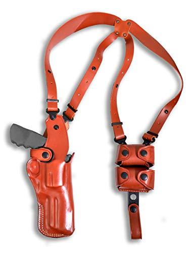 Premium Leather Vertical Shoulder Holster System with Double Speed Loader, Smith Wesson N-Frame Model 29/629 Standard Barrel 44 Mag 4''BBL, R/H Draw, Brown Color #1259#