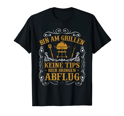 "Hombre Barbacoa y barbacoa con texto en alemán ""BBQ Mir Reichts Ich Geh Grillen"" Camiseta"