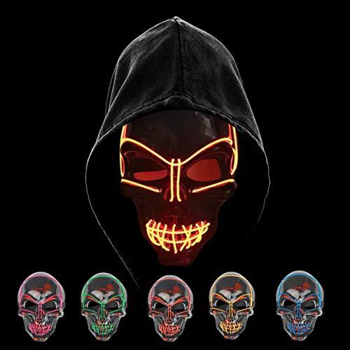 KiraKira Máscara LED Halloween, Halloween LED Máscaras Adultos LED Mask para la Fiesta de Disfraces, Máscara Disfraz Luminosa Craneo Esqueleto (Red)