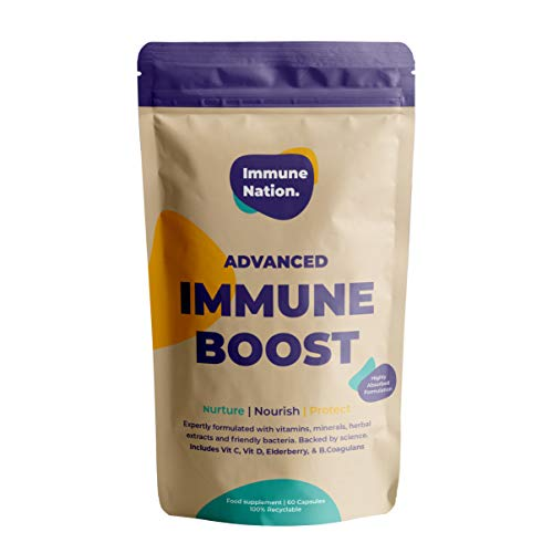 Immune Boost | Vitamins C, D, Zinc, Elderberry, B.Coagulans Friendly Bacteria | Ultra Absorbable Vitamin and Mineral Forms | 60 Capsules | Vegan | Immune Nation