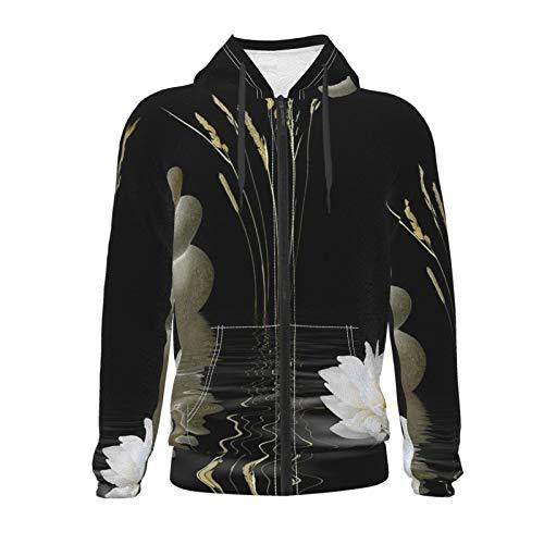 Inaayayi Zen Stone Hot Stones with Asian Lotus Teen Boys Girls Long Sleeve Pullover Hoodies Zipper Hooded Sweatshirts with Pocket 7-20y Black