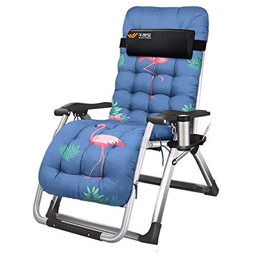 YVX Tuinligstoelen en fauteuils bedstoel kantoor vouwstoelen met kussen lunchpauze in Textoline met gratis bijzettafel/bekerhouder c2003 (kleur: Flamingo)