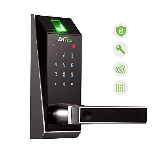 ZKTeco Smart Door Lock, Keyless Entry Door Lock Deadbolt with keypad, Fingerprint Door Lock, Electronic Deadbolt Lock, Biometric Door Lock Work with APP, Code, Fingerprint for Home
