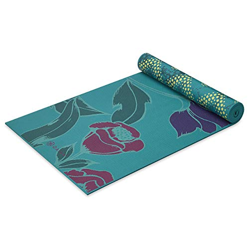 Gaiam Yoga Mat Premium Print Reversible Extra Thick Non Slip Exercise & Fitness Mat for All Types of Yoga, Pilates & Floor Workouts, Reflection, 5mm