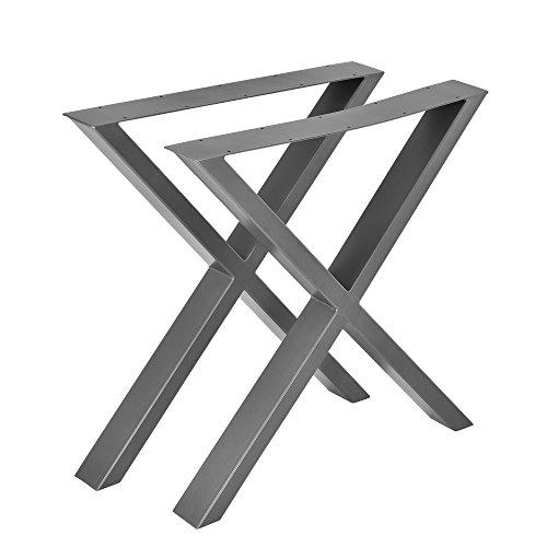 [en.casa] Gambe da Tavolo in Set di 2 Pezzi - 69 x 72 cm - Forma X - Grigio Argento
