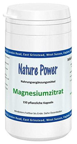 Nature Power | Magnesiumzitrat | 150 vegetarische Kapseln | glutenfrei