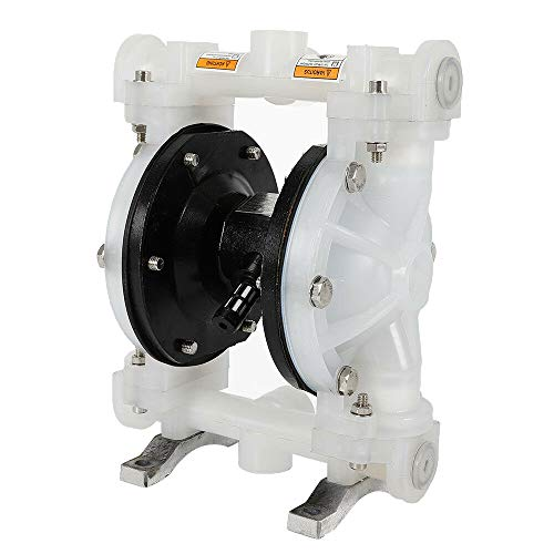 Air-Operated Double Diaphragm Pump, QBY-15PP Heavy Duty Dual Diaphragm Air Pump 1/2 inch Inlet & Outlet Cast Iron for Chemical Industrial Use