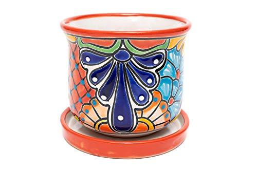 ENCHANTED TALAVERA Ceramic Flower Pot Succulent Planter House Plant Cactus Bonsai Decorative Pot Plant Container W/Drip Dish Saucer 2-Piece Set (Red)