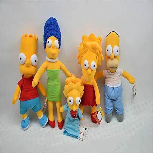 asfrata265 Plüschtier 5 Stück Cartoon Simpsons Kuscheltiere Simpsons Familie Weiche Kuscheltierpuppe Niedliche Kawaii-Spielzeug Für Kinder Fan Film Anime Figur Puppen