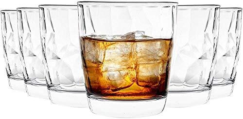 Vasos para beber de vidrio transparente con hoyuelos de diamante - 300 ml - Paquete de 6