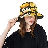 Sombrero para el Sol Loto Dorado Grande y Estilo japonés Koi Verano Unisex Pesca Sun Top Bucket Sombreros para Adolescentes Mujeres Gorra de Pescador...