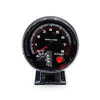 """TIN-YAEN 3 3/4"""" 車のトラックのボートのためのインターシフトライト/レーシングスピードメーターとタコメーターカーボンファイバー0から8000のRPMゲージクール ダッシュボード"""