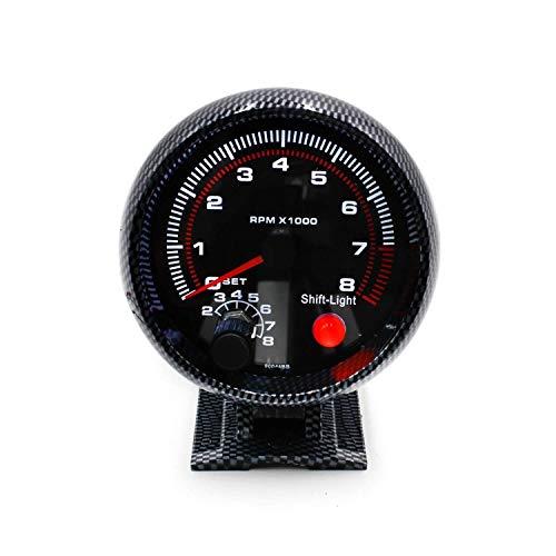 LZP-PP 3 3/4' Cool fibra de carbono 0-8000 RPM del tacómetro del calibrador con el Inter Shift Light/Racing del velocímetro for el coche del carro del barco
