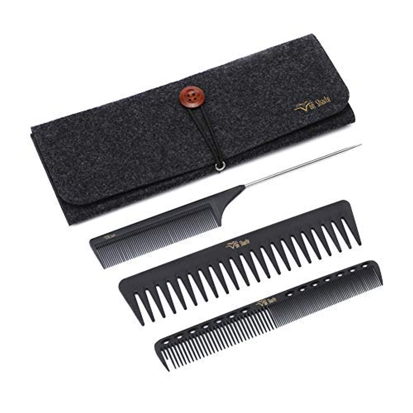 良心麦芽操作Styling Comb Set,Hairdresser Barber Comb Cutting Hair Comb Carbon Fiber Wide Tooth Comb Metal Rat Pin Tail Comb Salon 100% Anti Static 230℃ Heat Resistant(Styling Comb Set C932Z02B) [並行輸入品]