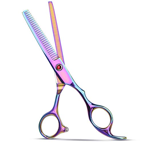 Professional Hair Thinning Scissors, Cutting Teeth Shears, Edge Teeth Blending Scissor, Salon Barber Hairdressing Haircut Scissors for Home Salon Man Woman Adults Kids (Rainbow Color)