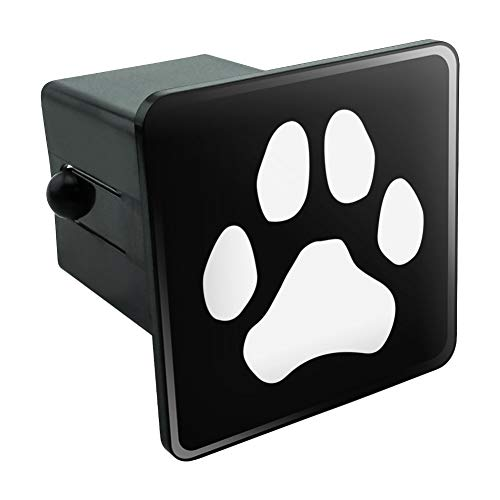 Graphics and More Paw Print Dog Cat White on Black Tow Trailer Hitch Cover Plug Insert 2