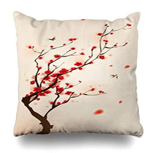 Klotr Fundas Almohadas Tree Red Cherry Oriental Painting