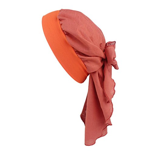 Chapeau rétro, YUYOUG Femmes Coton Lin Bandeau Chapeau Style rétro Bandeau élastique Bandeau de Pirate (Orange)