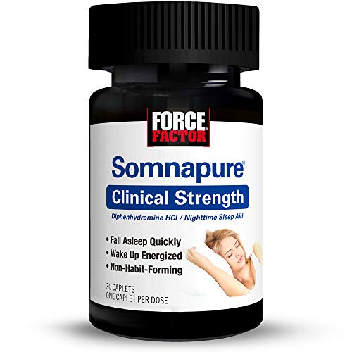 Somnapure Clinical Strength Sleep Aid for Adults with #1 Doctor-Recommended Sleeping Pill Ingredient Diphenhydramine HCl, Non-Habit-Forming, Nighttime Sleep Support, Force Factor, 30 Caplets