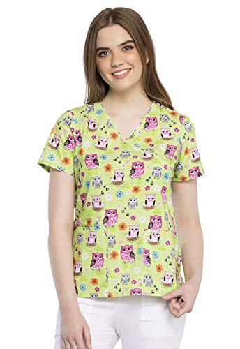 CHEROKEE Mock Wrap Scrub Top, M, Feather Folks