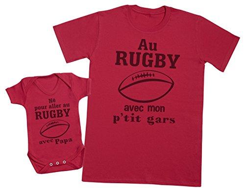 Zarlivia Clothing Né pour Aller au Rugby avec Papa - Ensemble Père Bébé Cadeau - Rouge - L & 0-3 Mois