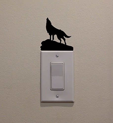 YINGKAI Werewolf Howling at Moon on Cliff, On Light Switch Decal Vinyl Wall Decal Sticker Art Living Room Carving Wall Decal Sticker for Kids Room Home Window Decoration